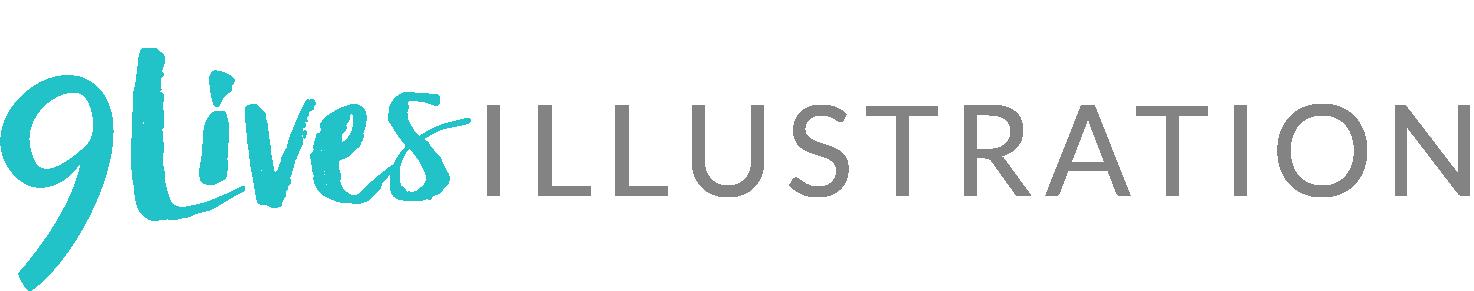 9 Lives Illustration Logo