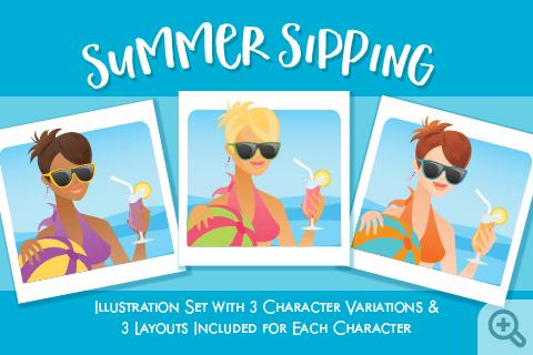 Summer Sipping Women illustration_Main Thumbnail