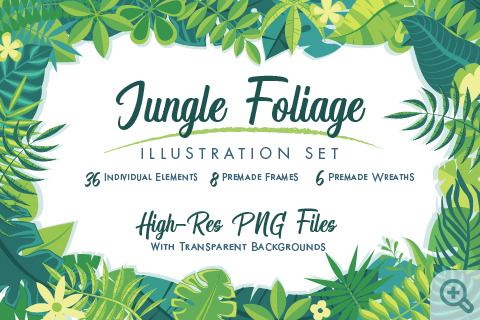 Jungle Foliage Clipart Set_Main Thumbnail